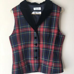 Rafaella Wool Plaid Vest 10 Velvet Collar Holiday